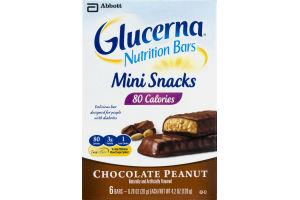Abbott Glucerna Nutrition Bars Mini Snacks 80 Calories Chocolate Peanut Bars - 6 CT