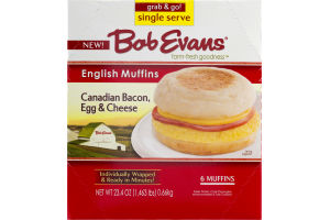 Bob Evans English Muffins Canadian Bacon, Egg & Cheese - 6 CT