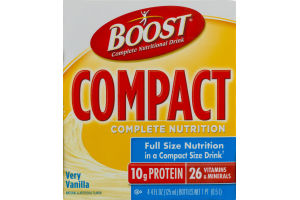 Boost Compact Complete Nutritional Drink Very Vanilla - 4 PK