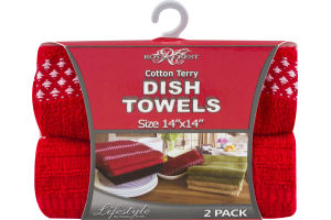 """Royal Crest Cotton Terry Dish Towels 14""""x14"""" - 2 CT"""