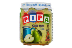 Пюре з груш з додаванням кобилячого молока для дітей від 6міс PiPa с/б 100г