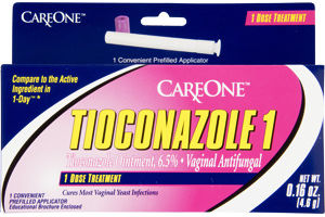 CareOne Tioconazole 1 Vaginal Antifungal 1 Dose Prefilled Applicator Treatment