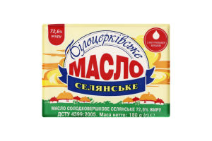 Масло 72.6% сладкосливочное Крестьянское Білоцерківське м/у 180г