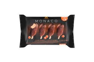 Набір Морозиво 10% глазуроване на паличці Caramel and sesame Monaco Три ведмеді м/у 4х80г