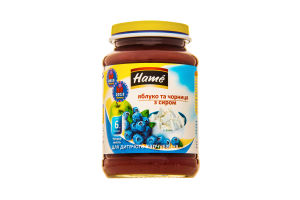 Пюре для дітей від 6міс Яблуко та чорниця з сиром Hame с/б 190г