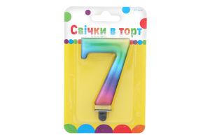 Свеча цветная цифра 7 Festa 1шт