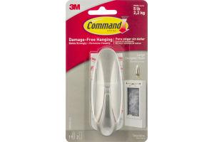 Command Damage-Free Hanging Large Designer Hook Decorative Silver