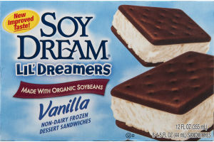 Soy Dream Lil' Dreamers Vanilla Non-Dairy Frozen Dessert Sandwiches - 8 CT