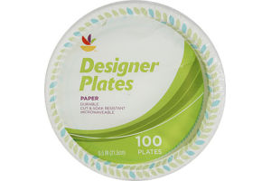 Ahold Designer Paper Plates - 100 CT