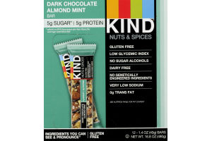 KIND Nuts & Spices Dark Chocolate Almond Mint Bar - 12 CT