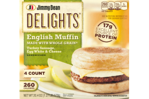 Jimmy Dean Delights English Muffin Sandwiches Turkey Sausage, Egg White & Cheese - 4 CT