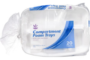 Ahold Compartment Foam Trays - 20 Trays