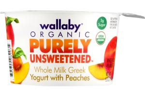 Wallaby Organic Purely Unsweetened Whole Milk Greek Yogurt With Peaches