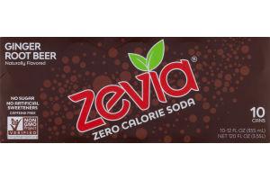 Zevia Zero Calorie Soda Ginger Root Beer - 10 CT
