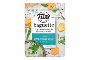"""ТМ """"Flint Baguette"""" Сухарики пшеничні зі смаком """"Вершковий соус з зеленню"""" 110 г"""