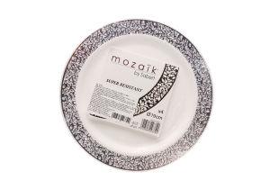 Н-р тарелок Sabert белые с сереб.узором 19см 4шт