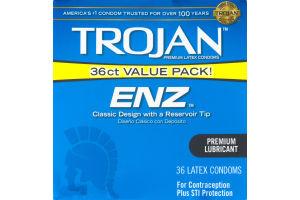 Trojan Premium Lubricated Latex Condoms ENZ - 36 CT