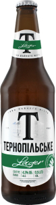 Пиво 0.5л 4.3% светлое пастеризованное Lager Тернопільське бут