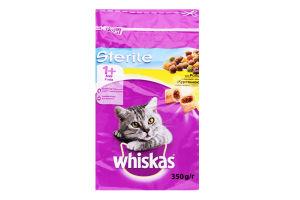 Корм сухой для взрослых стерилизованных кошек и кастрированных котов с курятиной Whiskas м/у 350г