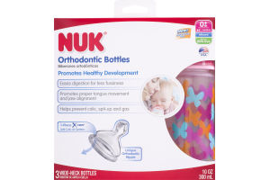 NUK Orthodontic Bottles Wide Neck 0+m Medium - 3 CT