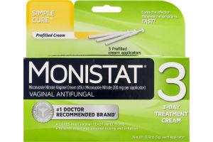 Monistat 3 Vaginal Antifungal 3-Day Treatment Cream Simple Cure
