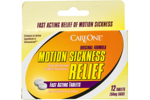 CareOne Motion Sickness Relief Tablets Original Formula - 12 CT
