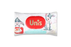 Серветки вологі антибактеріальні для дітей без запаху Ultra Sensitivе Unis 120шт