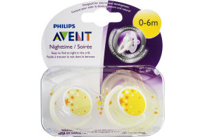 Philips Avent Orthodontic Pacifiers Nighttime 0-6m - 2 CT