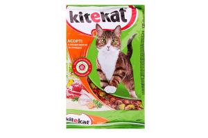 Корм для взрослых котов Ассорти с говядиной и птицей Kitekat м/у 400г