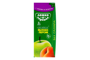 Сік для дітей від 5міс Яблуко-персик Ложка в ладошке т/п 200мл