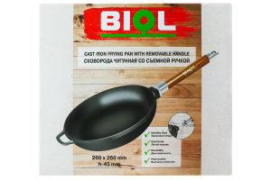 Сковорода чавунна Біол зі змінною ручкою без кришки Оптіма 26см 0126