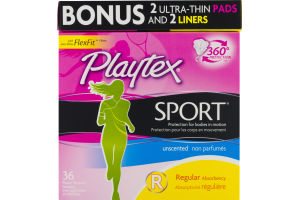 Playtex Sport Plastic Tampons Unscented Regular - 36 CT