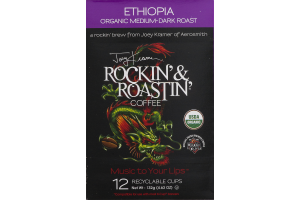 Joey Kramer Rockin' & Roastin' Coffee Ethiopia Organic Medium-Dark Roast Recyclable Cups - 12 CT