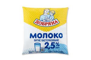 Молоко 2.5% питне пастеризоване Добряна м/у 450г