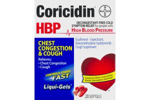 Coricidin HBP Chest Congestion & Cough Softgels - 20 CT