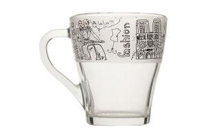 Чашка Грация круговая деколь стеклянная 250мл