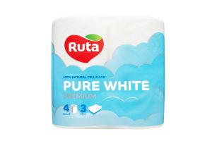 Папір туалетний Ruta Pure White Premium 4шт.3шар. х14