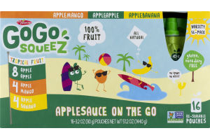 GoGo Squeez Applesauce On The Go Pouches Tropical Fruit - 16 CT