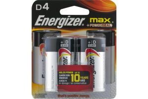 Energizer Max + PowerSeal D Alkaline Batteries - 4 CT