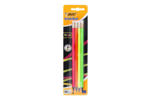 Олівець чорнографітовий пластиковий з гумкою Fluo Evolution BiC 4шт