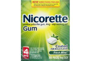 Nicorette Stop Smoking Aid Coated Gum Fresh Mint - 100 CT