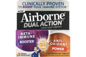 Airborne Dual Action Immune Support Supplement Effervescent Tablets Citrus - 10 CT
