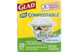 Glad 100% Compostable OdorShield 2.6 GAL Small Kitchen Quick-Tie Bags Fresh Clean - 20 CT