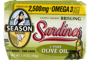 Season Brand Sardines Lightly Smoked Brisling In Pure Olive Oil