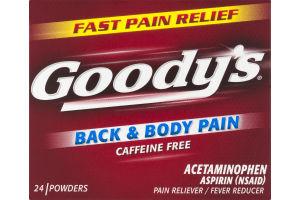 Goody's Back & Body Pain Caffeine Acetaminophen Powders - 24 CT