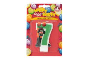Свічка-цифра для торту з клоуном №7 Happy Party Помічниця 1шт