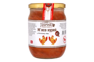Мясо кур в собственном соку Діброва с/б 500г