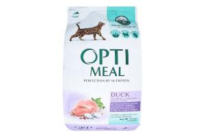 Корм сухой с уткой и эффектом выведения шерсти для взрослых кошек Optimeal м/у 4кг