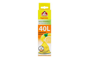 Эко-пакеты для мусора с ароматом лимона с затяжкой 40л Eco Friendly Supreme Помічниця 12шт