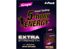 5-Hour Energy Extra Strength Dietary Supplement Grape - 4 CT